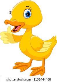 Cute duck cartoon thumb up.