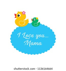 cute duck i love you mama greeting card vector. happy mother's day card with cute duck cartoon clip art. duck illustration mother day card.