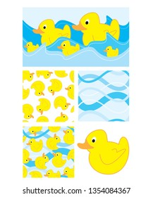 Cute duck repeat vector pattern and icons