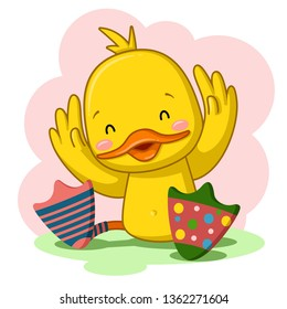 cute duck with socks