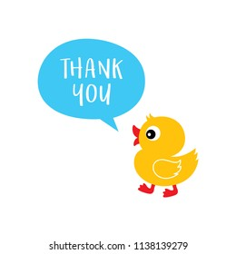 cute duck thank you card vector. cute duck appreciation card. thank you card with cute duck cartoon graphic.