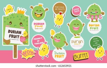 Cute Durian Vector / Durian Vector Packaging Design labels / Mascot Vector Design