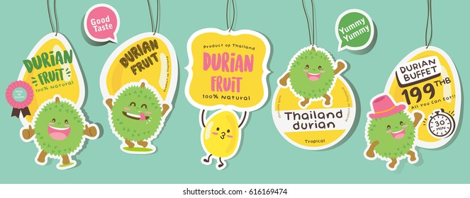 Cute Durian Vector / Durian Vector Packaging Design labels / Mascot Vector Design