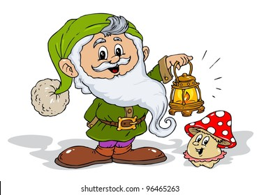 Cute Dwarf with Hand Lamp and Little Happy Mushroom - Illustration for Kids