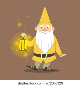 Cute dwarf in a yellow jacket and hat standing with small burning oil lamp vector Illustration