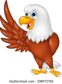 Cute eagle cartoon waving. isolated on white background