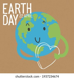 Cute Earth character image. Earth is celebrating with a heart in hands. Save the Earth concept. Vector illustration on cardboard.