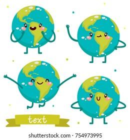 Cute Earth, character set, vector.