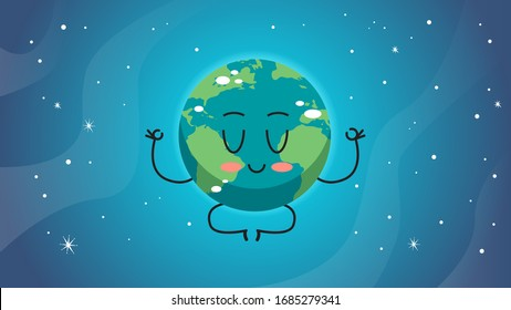 cute earth character sitting lotus pose cartoon mascot globe personage save planet meditation concept horizontal vector illustration