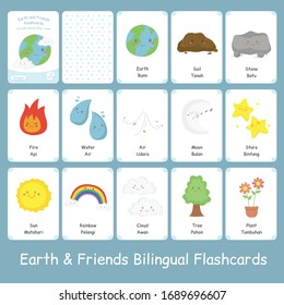 Cute earth and friends bilingual flashcard vector set. Printable flashcard for kids. English Indonesian language.