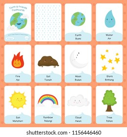 Cute earth and friends flashcard, bilingual English Indonesian flashcard vector template.  Printable flashcard design for kids.