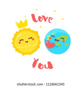 Cute Earth with heart and cartoon Sun on white background. Flat style. Vector illustration.