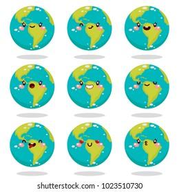 Cute Earth, smiley, planet, vector, Solar system.