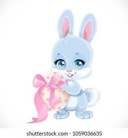 Cute Easter baby Bunny hold egg isolated on a white background