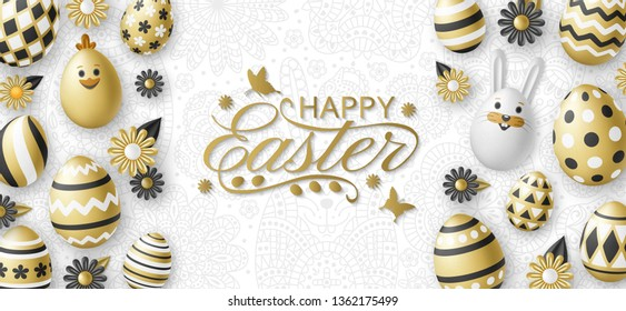 Cute Easter background with white bunny, chicken, eggs and flowers. Golden vector illustration.
