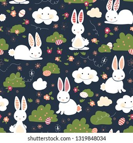 Cute Easter bunnies seamless vector kids pattern. Cute bunny, Easter eggs, flowers, clouds on blue background. Cartoon style rabbits hiding eggs. For gift wrap, digital paper, kids fabric, spring.