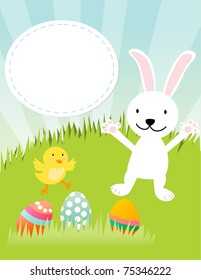 Cute Easter bunny, chicken and eggs- color illustration