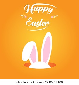 Cute Easter bunny ears with the inscription Happy Easter on an orange background. vector illustration