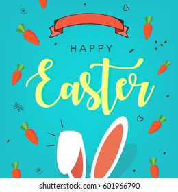 "Cute Easter Bunny Ears with stylish text on decorative background with ribbon for the celebration of Christian Festival ""Happy Easter""."