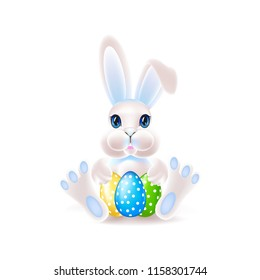 Cute easter bunny with an egg. Colorful vector illustration.