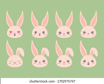 Cute Easter Bunny emoji icons set. Clip art emoticons pink color. Vector illustration for web print cards invitations apps blogs mobile
