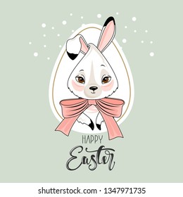 "Cute Easter Bunny with a hand-drawn phrase ""Happy Easter"".Calligraphy brush for invitation and greeting card."