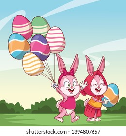 Cute easter bunny happy friends egg ballons nature background bushes