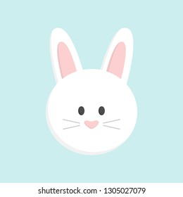 Cute Easter bunny head, isolated on baby blue background. White easter bunny face vector graphic illustration icon.
