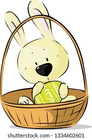 Cute Easter Bunny Hold Egg Sitting in Basket - Vector Illustration