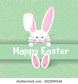 Cute Easter bunny on a polka dot background