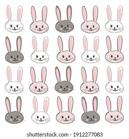 Cute Easter bunny rabbits easter pattern. Happy Easter background, advertisement, fabric design seamless pattern vector illustration