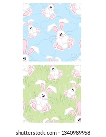 Cute Easter bunny repeat vector pattern