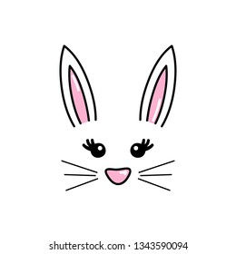 Cute easter bunny vector illustration, hand drawn face of bunny. Ears and tiny muzzle with whiskers. Isolated.
