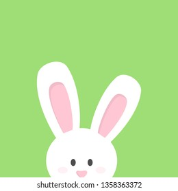 Cute Easter bunny vector illustration graphic. Little rabbit peeking out. White bunny isolated on green background.