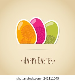 Cute easter card with painted colorful eggs, floral design, vector illustration background