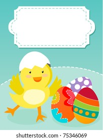 Cute Easter chicken and eggs- color illustration