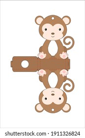 Cute easter egg holder monkey template. Retail paper box for the easter egg. Printable color scheme. Laser cutting vector template. Isolated packaging design illustration.
