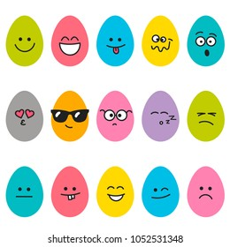 Cute Easter eggs with different emotions