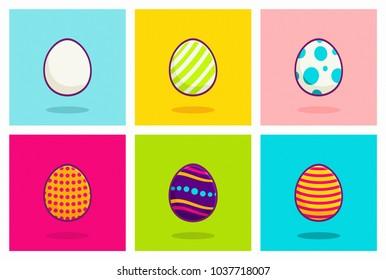 Cute Easter Eggs Vector Illustration. 3D Flat Design Set on Bright Color Background