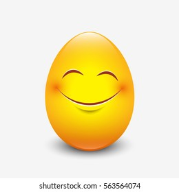 Cute Easter emoticon, emoji - egg - vector illustration