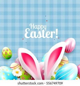 Cute Easter greeting card with bunny ears and colorful Easter eggs on blue background