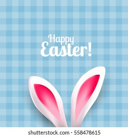 Cute Easter greeting card with bunny ears on blue background