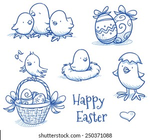 Cute easter icon and chick collection, with easter eggs in basket, different chicks, eggs and nest. Hand drawn vector illustration.