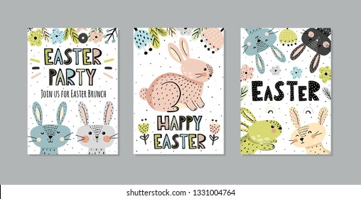 Cute Easter invitations and greeting cards set with funny bunnies in scandinavian style. Vector illustration