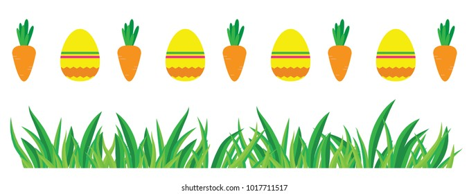 Cute easter pattern with eggs, carrots and grass. Vector colorful background for holidays.