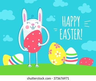 Cute easter rabbit holding easter egg