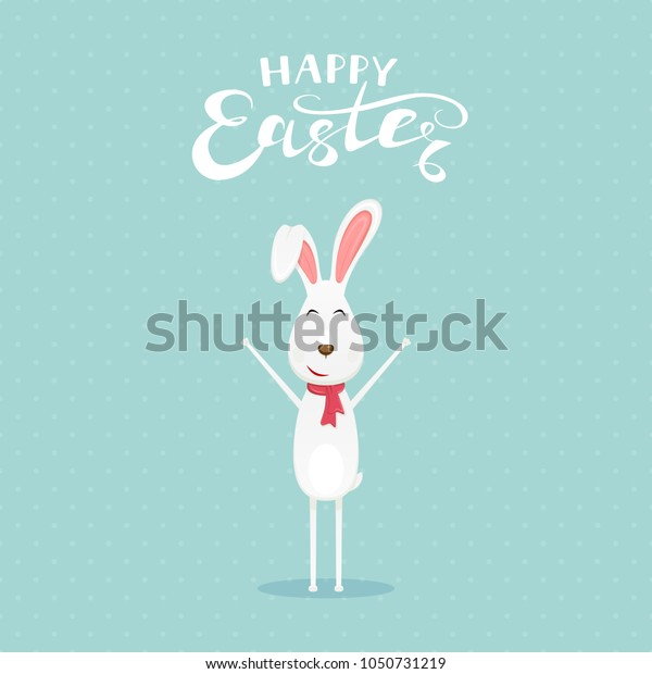 Cute Easter rabbit with scarf and lettering Happy Easter on blue background, illustration.