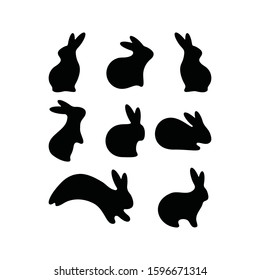 Cute Easter Rabbits Silhouette collection. Black Bunny, wild Hare Set isolated on white. Baby party greeting card, Vinyl decal, pet sticker. Tattoo design, animal farm logo. Vector Flat style zoo icon
