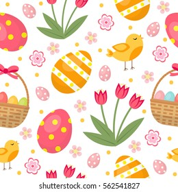 Cute Easter seamless pattern with eggs in basket, birds and flowers. Endless Spring background, texture, digital paper. Vector illustration