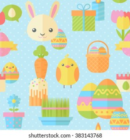 Cute Easter seamless pattern in flat with traditional spring holiday elements for fabric, website backgrounds